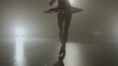 Attractive skinny ballerina silhouette in white tutu outfit dancing while warming up in a professional dark studio Stock Footage