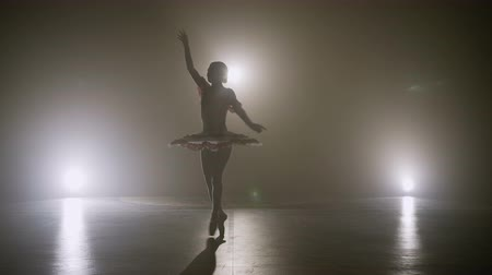 Silhouette of young ballerina dressed in white wearing pointe shoes dancing and practicing pirouettes on stage late at night