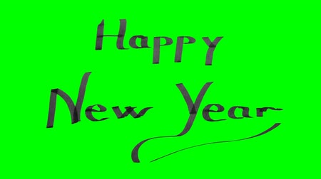 decorative : Green screen animation calligraphy writing happy new year with black ink on paper texture