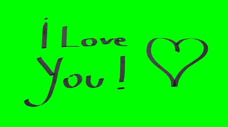 Green screen animation calligraphy writing I love you and drawing a heart with black ink on paper texture
