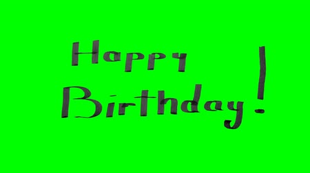 Green screen animation calligraphy writing happy birthday with black pen ink on paper texture