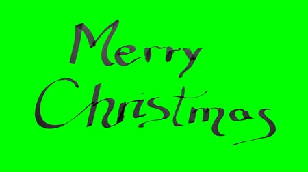 каллиграфия : Green screen animation calligraphy writing merry Christmas with black ink on paper texture Стоковые видеозаписи