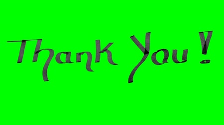 Green screen animation calligraphy writing thank you with black ink on paper texture