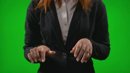 imaginární : Office woman hands typing on imaginary display simulating work using futuristic holographic interface Dostupné videozáznamy