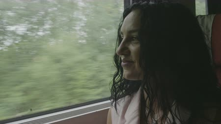 přihrádka : Portrait of smiling young woman traveling by train looking through the window admiring on landscape passing time