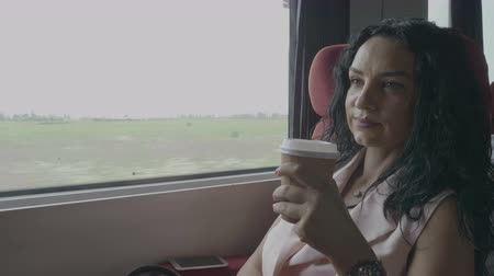 voyager : Attractive business woman enjoying trip on train commuting to work office sitting near window and drinking coffee