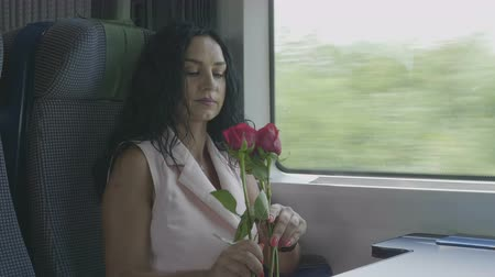 проходить : Romantic elegant woman standing near the window smelling roses traveling by train romantic journey concept