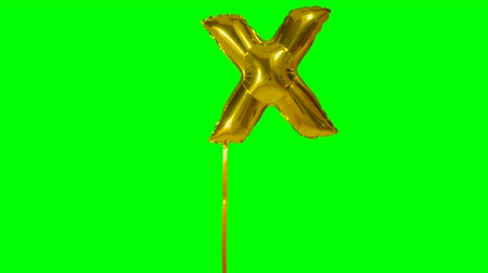 palavras chave : Letter X from alphabet helium gold balloon floating on green screen