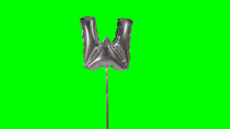 w : Letter W from alphabet helium silver balloon floating on green screen