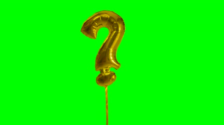 interrogation : Sign symbol question mark from alphabet helium gold balloon floating on green screen Stock Footage
