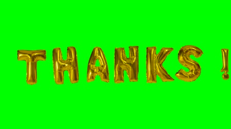 florete : Word thanks from helium gold balloon letters floating on green screen