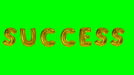 florete : Word success from helium gold balloon letters floating on green screen