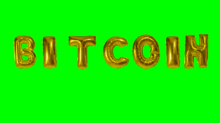 florete : Word Bitcoin from golden helium balloon letters floating on green screen Vídeos