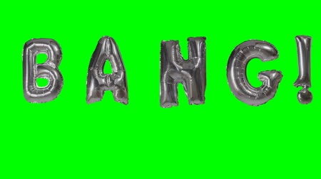 folyo : Word bang from helium silver balloon letters floating on green screen Stok Video