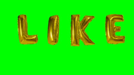 potvrzení : Word like from helium gold balloon letters floating on green screen