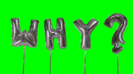 почему : Word why from helium silver balloon letters floating on green screen Стоковые видеозаписи