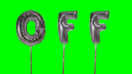 florete : Word off from helium silver balloon letters floating on green screen