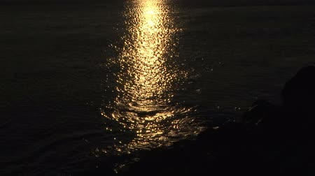 sunset sea : Golden sunlight path reflection on sea