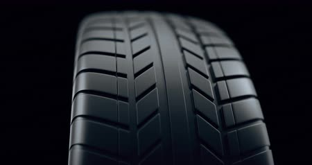 fidedigno : Close up on a car tire in motion, with deph of field effect. Seamless looping animation, 4k animation.