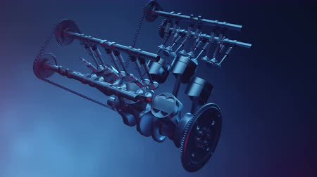 silindir : V6 engine inside, animation in motion, pistons, camshaft, chain, valves and other mechanical parts car. Illustration of how an internal combustion engine works in motion