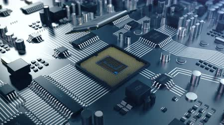 chipset : 3D animation Circut board. Technology background. Central Computer Processors CPU concept. Motherboard digital chip. the processor is installed in the socket. Stock Footage