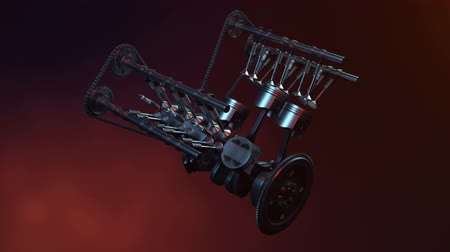 manivela : V6 engine inside, animation in motion, pistons, camshaft, chain, valves and other mechanical parts car. Illustration of how an internal combustion engine works in motion. Loopable animaion