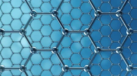 vlákno : Graphene atom nanostructure loopable animation. Nanotube in form of honeycomb. Concept Nanotechnology and sciences