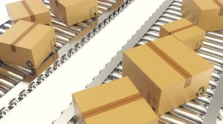 перевозка груза : Cardboard boxes progresses along conveyor belt loopable animation. Cardboard boxes on conveyor belt Стоковые видеозаписи