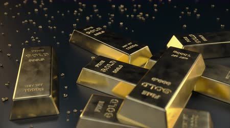 kilogramm : Fine Gold bars 1000 grams on the floor with scattered pieces of gold. Loopable animation. Concept of wealth