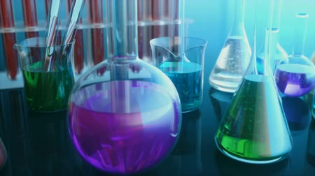 растворение : Laboratory flasks with colored liquids. Science and chemical, chemistry concept. 3d animation