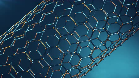 elétron : Graphene atom nanostructure loopable animation. Nanotube in form of honeycomb. Concept Nanotechnology and sciences. 4K 3d animation Vídeos