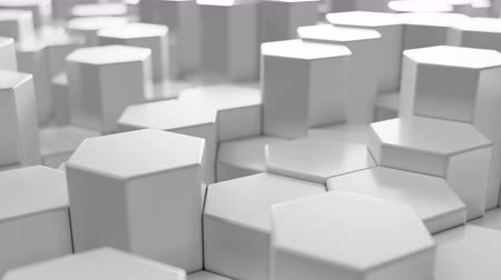 tło abstrakcja : White geometric hexagonal abstract background, 3d rendering 4k animation