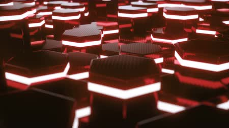 hexagon pattern : Abstract red of futuristic surface hexagon pattern with light rays. 3D Rendering 4k animation Stock Footage