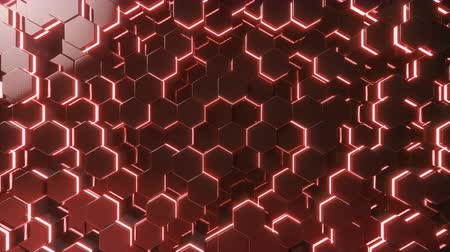 cellular structure : Abstract red of futuristic surface hexagon pattern with light rays. 3D Rendering 4k animation Stock Footage
