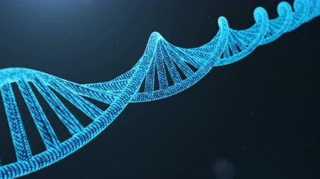aborígene : Rotated 3D rendered Digital DNA molecule, structure. Concept binary code human genome. DNA molecule with modified genes. Stock Footage