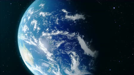 bolygók : Approaching the Earth. World Globe from Space. Earth rotates around its axis. Earth orbit. Realistic 3D Animation. Elements of this image furnished by NASA Stock mozgókép