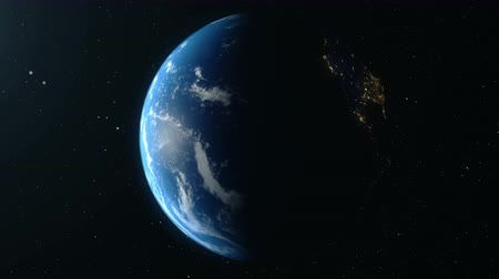 элементы : Earth Rotates Around Its Axis. World Globe Surrounded By Infinite space. World Globe from Space. Looped animation, Change of night and day.