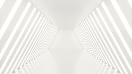 tünel : Abstrac futuristic white corridor with neon lights. Glowing light. Futuristic architecture background. 3D animation Stok Video