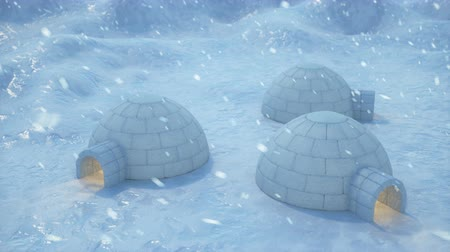 metrópole : Igloo standing against the winter landscape and snowdrifts. Strong wind and snow storm, 3d animation