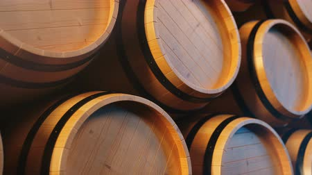 winemaking : Wine or Whiskey in vaults. Barrel in the basement. Wine, beer, Whiskey barrels stacked at the warehouse. Looped animation. 3D animation