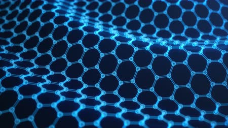 microscópico : Abstract nanotechnology hexagonal geometric form close-up, concept graphene atomic structure, concept graphene molecular structure. Scientific concept. Seamless, loopable animation Vídeos