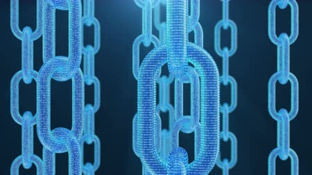 digital code : 3D illustration digital blockchain code. Chain links network. Blue background. Concept of Network, cryptocurrencies internet communication. Binary code on chains. Seamless loop 4K animation Stock Footage