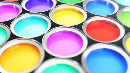chróm : 3D animation of beautiful colorful cans paint, group of tin metal cans with color paint dye: blue, green, yellow, turquoise, pink and red color paint. Loop-able, looped animation, seamless background. Dostupné videozáznamy