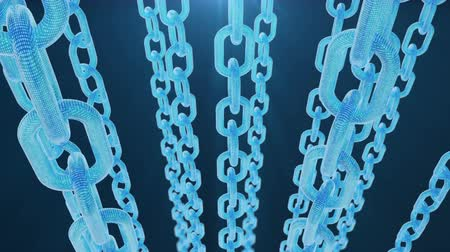 block chain : 3D illustration digital blockchain code. Chain links network. Blue background. Concept of Network, cryptocurrencies internet communication. Binary code on chains. Seamless loop 4K animation Stock Footage