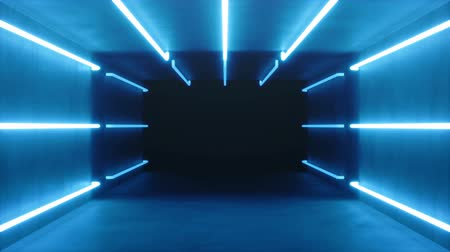 tünel : Looped 3D animation, seamless abstract blue room interior with blue glowing neon lamps, fluorescent lamps. Futuristic architecture background. Box with concrete wall. Mock-up for your design project
