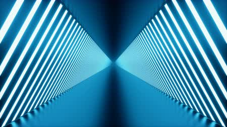 tünel : 3D looped animation, seamless abstract futuristic blue room corridor, tunnel with neon lights. Fluorescent lamps, glowing light. Futuristic architecture background. Loop-able seamless 4K animation.