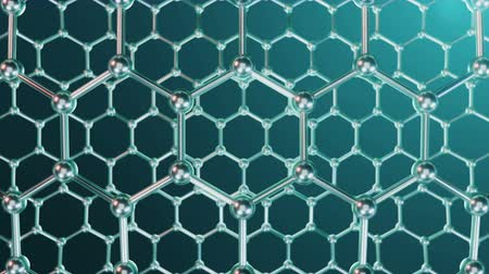 fizik : Nanotechnology like scientific background. Hexagonal surface. Graphene atom nanostructure, carbon surface, durable material. Nanosurface in form of honeycomb, Loop-able seamless. 4K animation