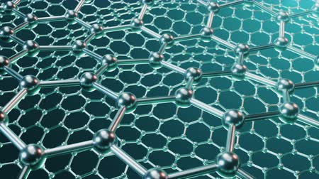 Nanotechnology like scientific background. Hexagonal surface. Graphene atom nanostructure, carbon surface, durable material. Nanosurface in form of honeycomb. Loop-able seamless. 4K animation Vídeos