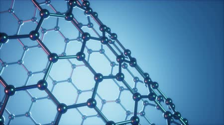 Nanotechnology like scientific background. Hexagonal surface. Graphene atom nanostructure, carbon surface, durable material. Nanosurface in form of honeycomb. Loop-able seamless. 4K animation Dostupné videozáznamy