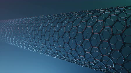fizik : Nanotechnology like scientific background. Hexagonal nanotubes. Graphene atom nanostructure, carbon nanotubes, durable material. Nanotube in form of honeycomb, Loop-able seamless 4K animation
